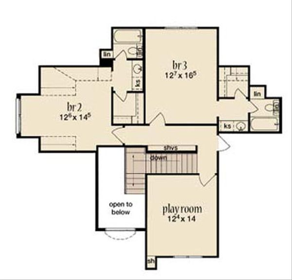 Dream House Plan - Mediterranean Floor Plan - Upper Floor Plan #36-469