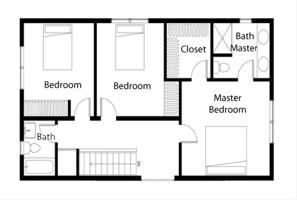 Traditional Floor Plan - Upper Floor Plan Plan #497-39