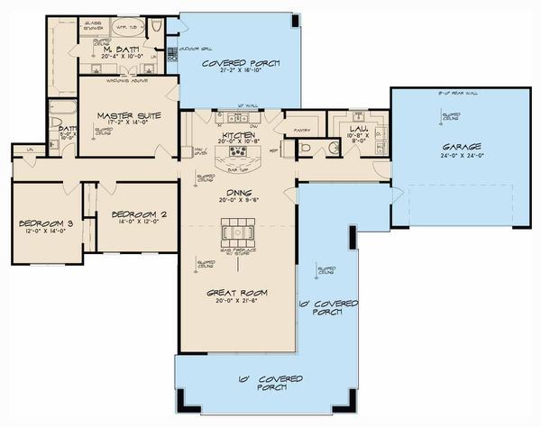 Contemporary Floor Plan - Main Floor Plan Plan #17-2603