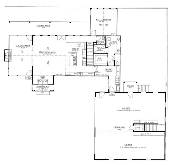Craftsman Floor Plan - Main Floor Plan Plan #437-112