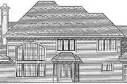 European Style House Plan - 4 Beds 3.5 Baths 3093 Sq/Ft Plan #70-485 Exterior - Rear Elevation