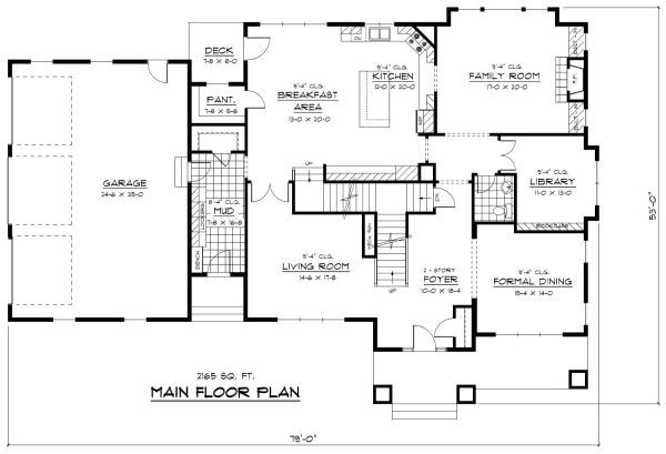 Colonial Floor Plan - Main Floor Plan Plan #51-331