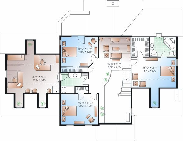 Colonial Floor Plan - Upper Floor Plan Plan #23-724