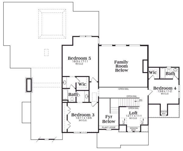Craftsman Floor Plan - Upper Floor Plan Plan #419-147