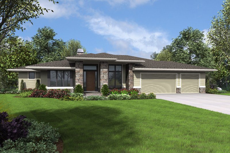 Prairie Style House Plan - 3 Beds 2.5 Baths 3528 Sq/Ft Plan #48-700 Exterior - Front Elevation
