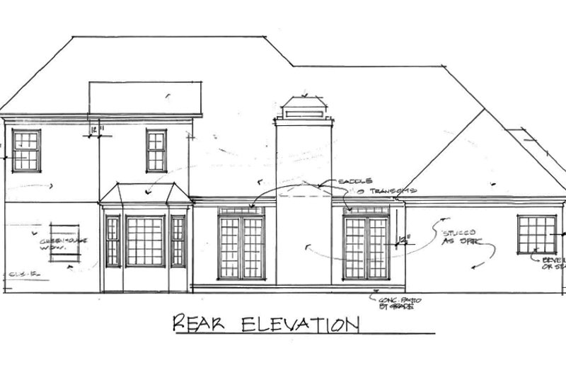 European Exterior - Rear Elevation Plan #56-194 - Houseplans.com