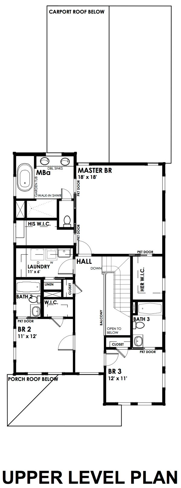 Craftsman Floor Plan - Upper Floor Plan Plan #30-350