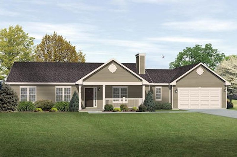 Ranch Exterior - Front Elevation Plan #22-544