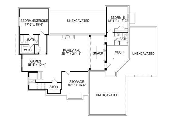 Contemporary Floor Plan - Lower Floor Plan Plan #920-72