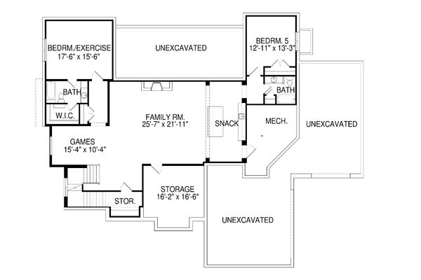 Architectural House Design - Contemporary Floor Plan - Lower Floor Plan #920-72