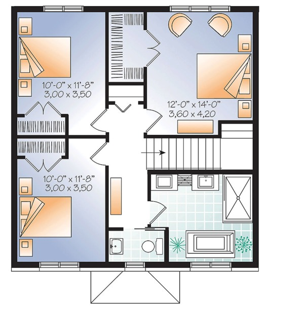 Traditional Floor Plan - Upper Floor Plan Plan #23-2625
