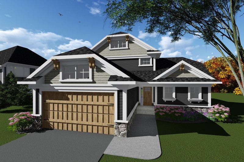 Architectural House Design - Craftsman Exterior - Front Elevation Plan #70-1265