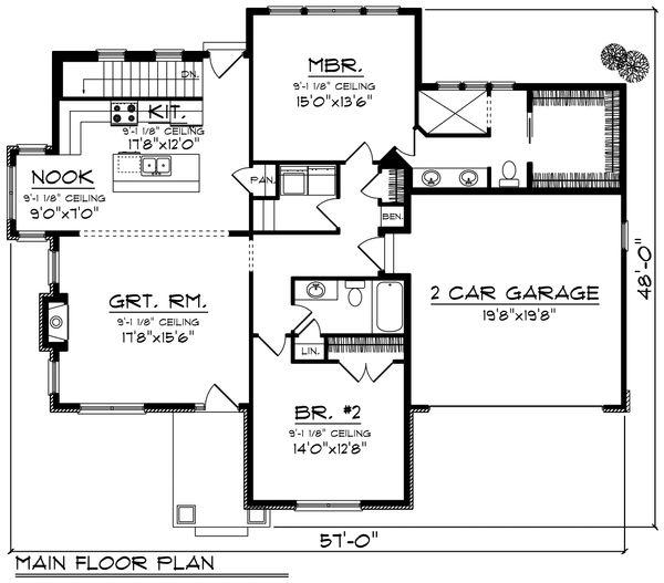 Ranch Floor Plan - Main Floor Plan Plan #70-1189
