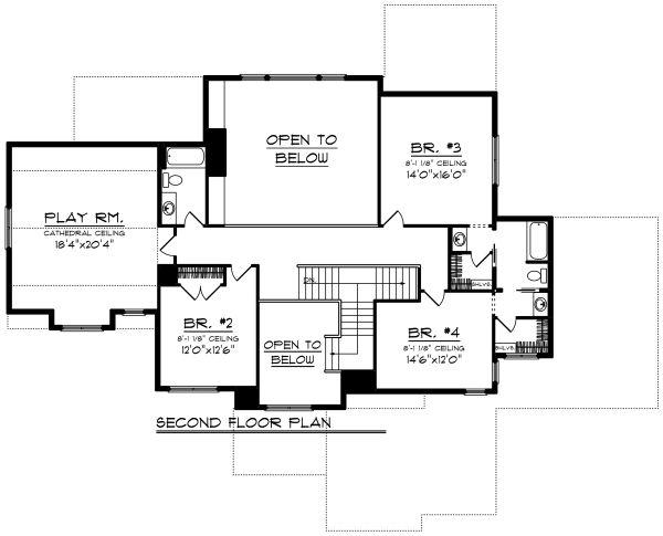 Craftsman Floor Plan - Upper Floor Plan Plan #70-1291