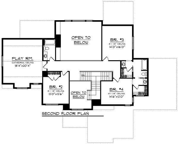 Craftsman Floor Plan - Upper Floor Plan Plan #70-1291