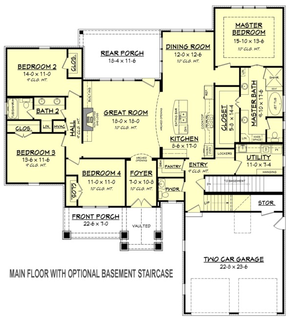 House Plan Design - Optional Basement Stair Placement