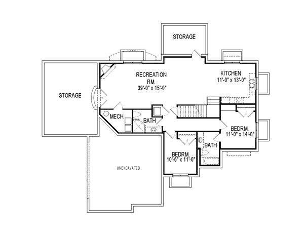 European Floor Plan - Lower Floor Plan Plan #920-115