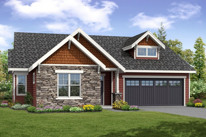 Craftsman Style House Plan - 3 Beds 3 Baths 1963 Sq/Ft Plan #124-1056 Exterior - Front Elevation