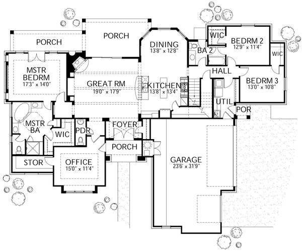 Mediterranean Style House Plan - 4 Beds 3.5 Baths 3140 Sq/Ft Plan #80-126 Floor Plan - Main Floor Plan