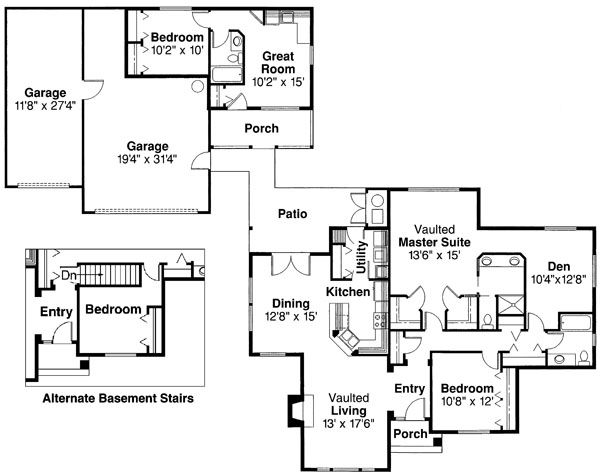 Traditional Floor Plan - Main Floor Plan Plan #124-353