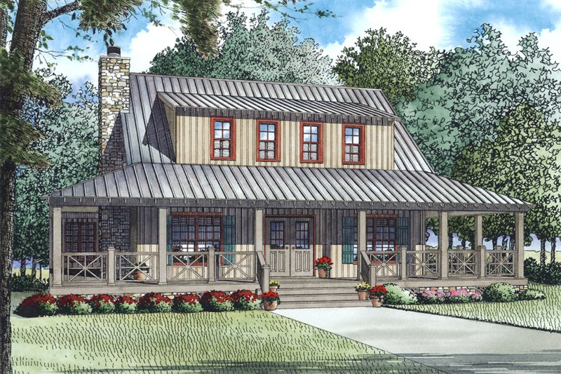 Country Style House Plan - 3 Beds 3 Baths 1792 Sq/Ft Plan #17-2517