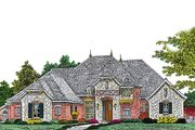 European Style House Plan - 4 Beds 3.5 Baths 3166 Sq/Ft Plan #310-961 Exterior - Front Elevation