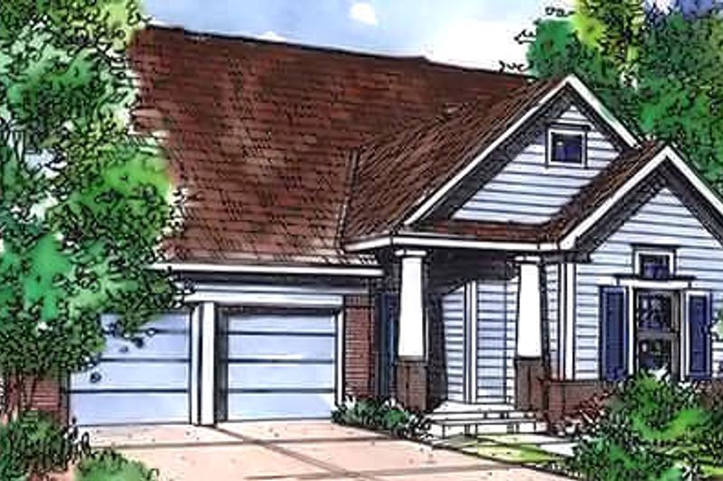 Bungalow Exterior - Front Elevation Plan #320-445
