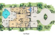Mediterranean Style House Plan - 6 Beds 7.5 Baths 7395 Sq/Ft Plan #548-4 Floor Plan - Main Floor Plan