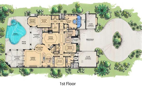 Mediterranean Floor Plan - Main Floor Plan Plan #548-4