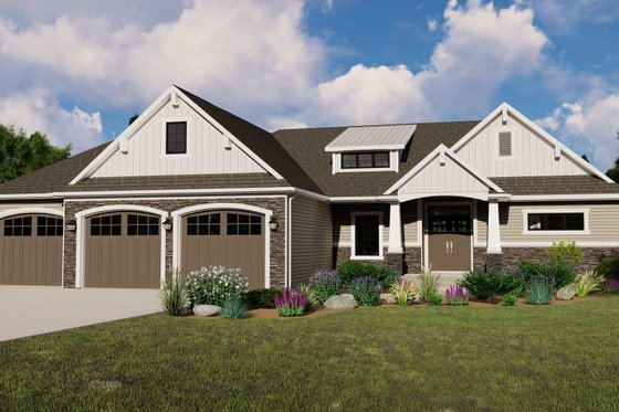 Ranch Exterior - Front Elevation Plan #1064-86