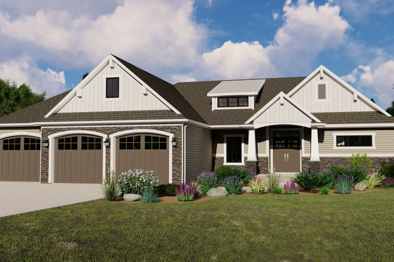 Architectural House Design - Ranch Exterior - Front Elevation Plan #1064-86