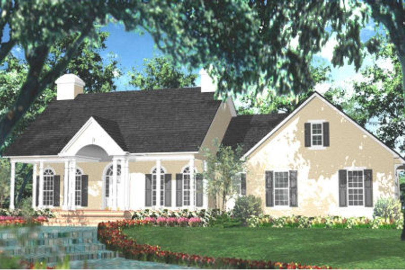 Southern Exterior - Front Elevation Plan #406-280 - Houseplans.com