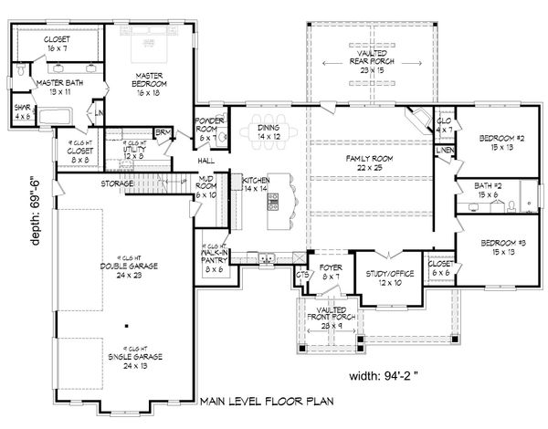 Architectural House Design - Country Floor Plan - Main Floor Plan #932-89
