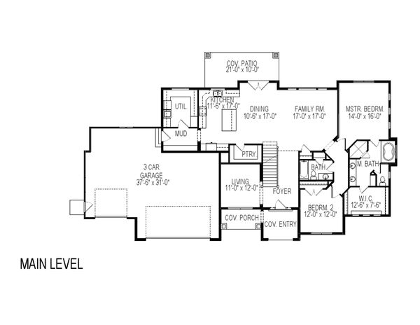 Craftsman Floor Plan - Main Floor Plan Plan #920-45
