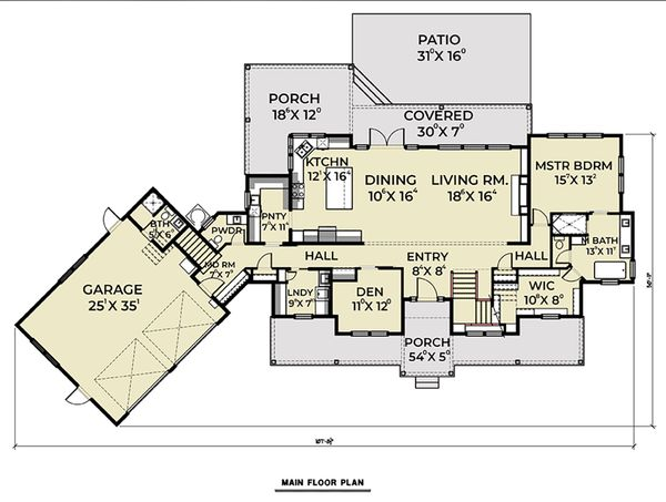 Farmhouse Floor Plan - Main Floor Plan Plan #1070-39