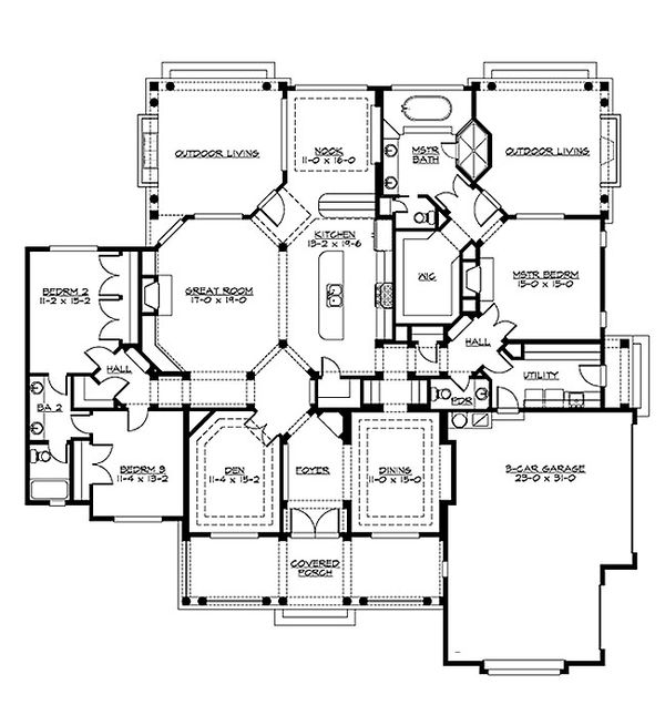 Country Floor Plan - Main Floor Plan Plan #132-203