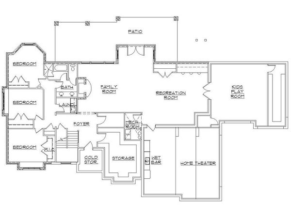 House Plan Design - European Floor Plan - Lower Floor Plan #5-397