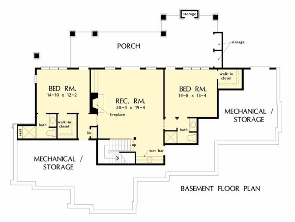 European Floor Plan - Lower Floor Plan Plan #929-1037
