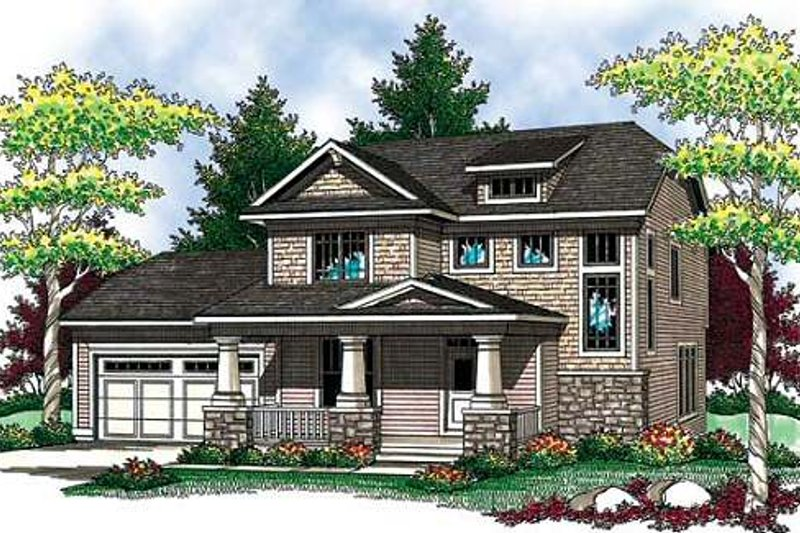 Craftsman Exterior - Front Elevation Plan #70-907