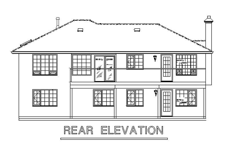 Mediterranean Exterior - Rear Elevation Plan #18-124 - Houseplans.com