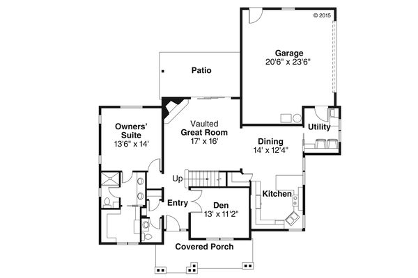 Country Floor Plan - Main Floor Plan Plan #124-1022