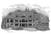 Craftsman Style House Plan - 5 Beds 4 Baths 4776 Sq/Ft Plan #929-340 Exterior - Rear Elevation