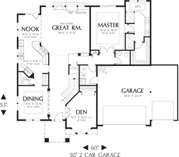European Floor Plan - Main Floor Plan Plan #48-610