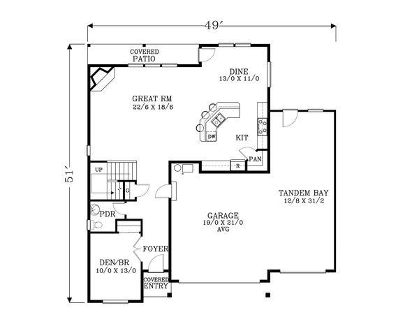 Craftsman Floor Plan - Main Floor Plan #53-554