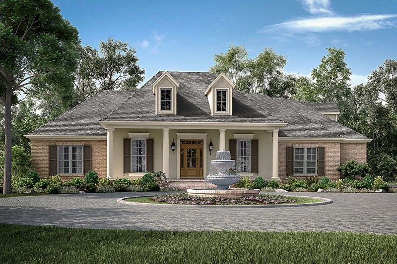 European Style House Plan - 4 Beds 2 Baths 2396 Sq/Ft Plan #430-153 Exterior - Front Elevation
