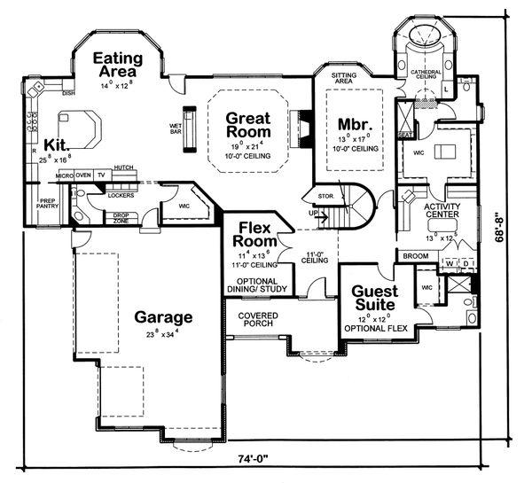 Home Plan Design - European Floor Plan - Main Floor Plan #20-2125