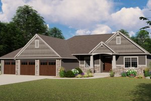 Country Exterior - Front Elevation Plan #1064-69