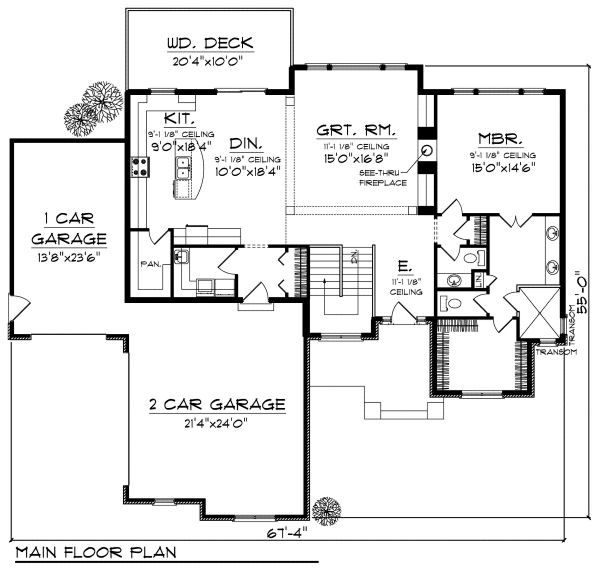 European Floor Plan - Main Floor Plan Plan #70-881