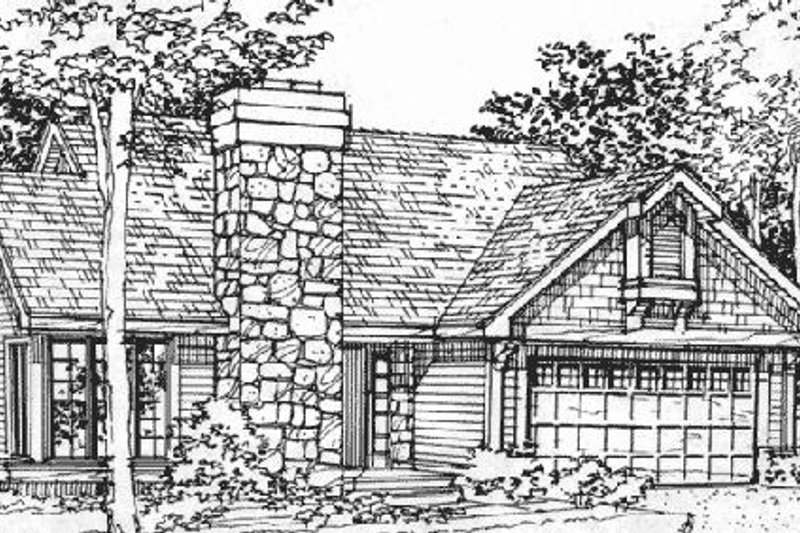 Ranch Style House Plan - 2 Beds 2 Baths 1231 Sq/Ft Plan #320-352 Exterior - Front Elevation