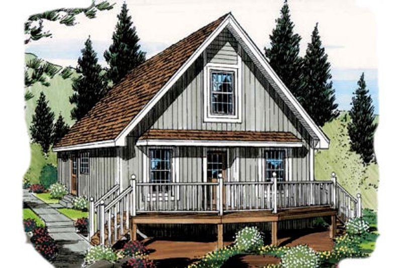 Country Style House Plan - 3 Beds 1 Baths 1027 Sq/Ft Plan #312-536 Exterior - Front Elevation